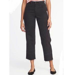 Old Navy Wide Leg Cropped Black Jeans Raw Hem
